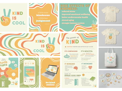 Kind is Cool Campaign color theory lines typography social media pack illustraion cohesive peace retro yellow be kind buttons ripple inforgraphic campaign kindness
