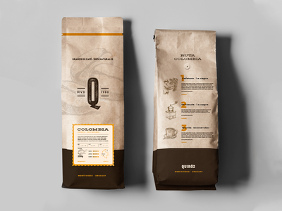 Quiroz - Packaging for a coffee store letter press stamp illustration recycled paper beige cafe artesanal coffee shop craft packaging labels coffee