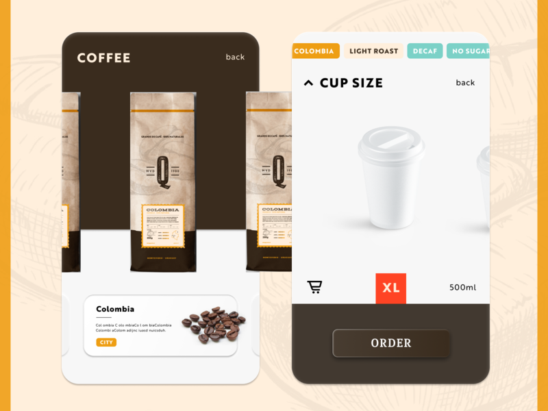 Quiroz - Coffee Order App Experimentation letterpress retro vintage e commerce buy cup order coffee beige ux app neuomorphism