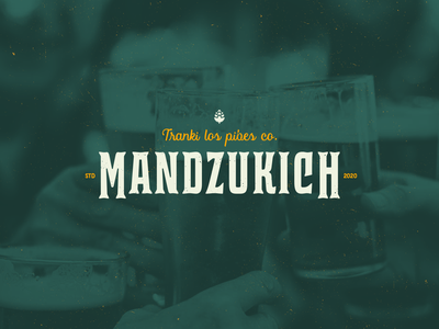 Mandzukich - craft beer serif logo lettering design label beige green cerveja artesanal cerveza beer craft