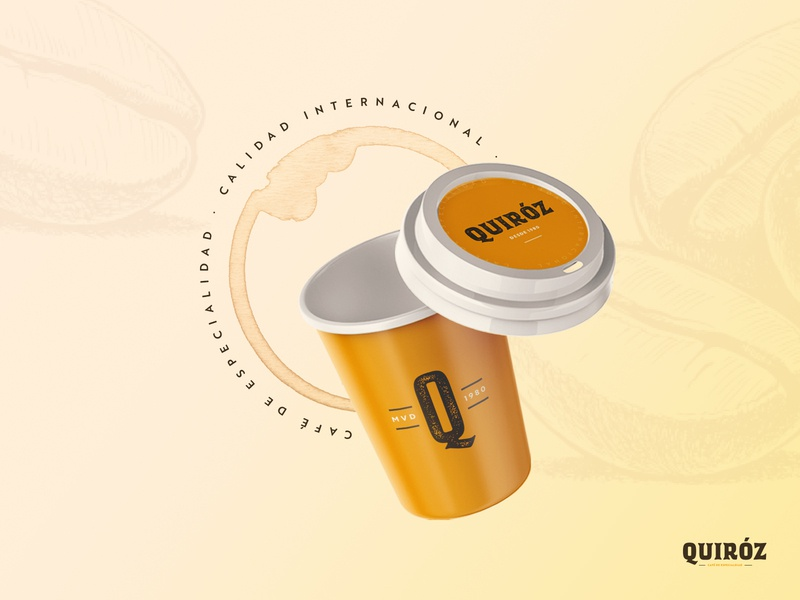 Quiroz - Specialty Latin-American Coffee typography vintage logo retro beige lettering coffee cup latinamerican coffee packaging branding