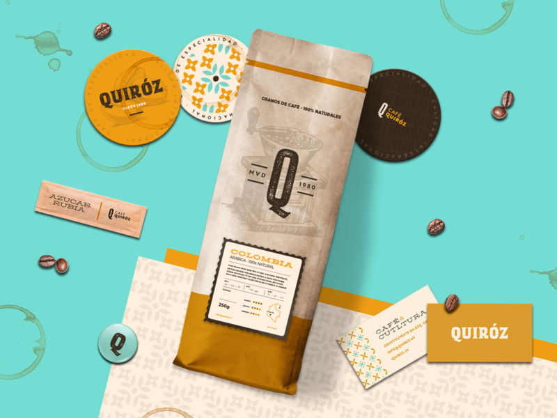 Quiroz - Specialty Latin-American Coffee craft vintage logo packaging caffeine coffee premium illustration beige design latin label vintage branding café