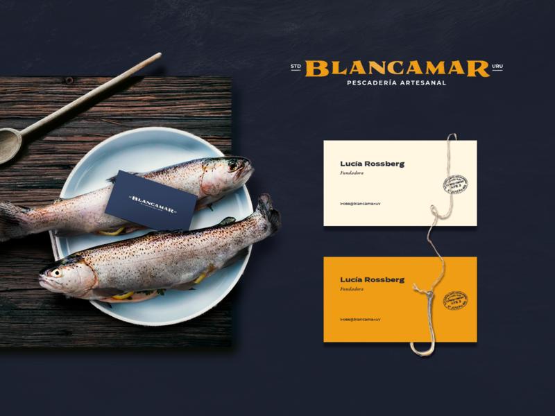 Blancamar - Fish Market Naming and Logo blue rudder oceano fish shop naming pescaderia logo premium craft vintage sailor market fish nautic ocean sea