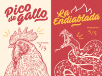 Mexican Hot & Spicy Sauces - Illustration