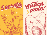 Secret and Guacamole Sauces - Packaging Illustration