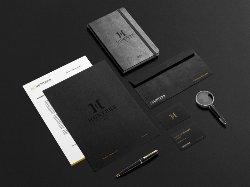 Hunters - Branding Stationary Design business logo logo design branding and identity branding design business card marketing agency black and gold dark stationary premium design branding premium