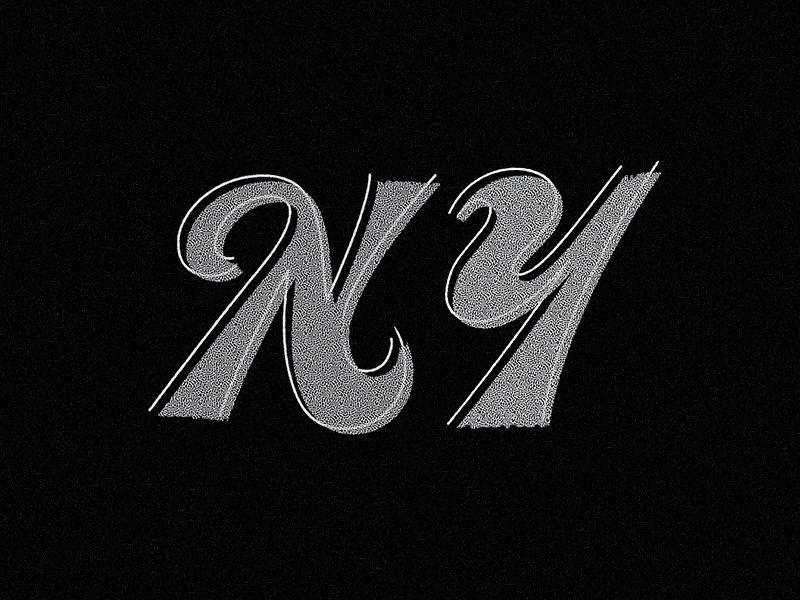New York cursive script line texture lettering ny new york