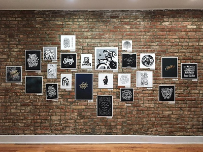 Optimist Art Show Wall posters prints wall brick artists group lettering illustration gallery nyc optimist