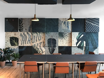 Magic City Miami type collage plants leaves nature tropical print osb wood mural florida miami