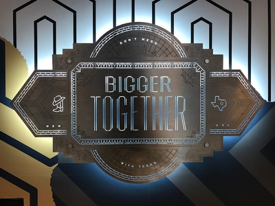 Bigger Together Badge Installation dallas pattern mural wallpaper aluminum metal installation badge type typography texas