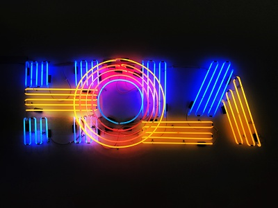 HOLA neon type glow neon sign bright color lettering typography mexico spanish hola wework neon