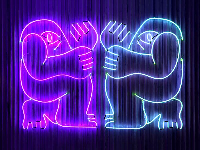 You Shall Not Pass (Neon Installation) dance illustrator illustration linear line minimal character hand eye neon sign neon glow mood moon night