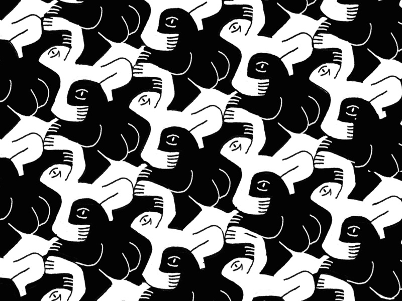 Tesselation I blackandwhite monochrome procreate handdrawn profile bodies illo character dance frozen interlock escher tesselation tile pattern