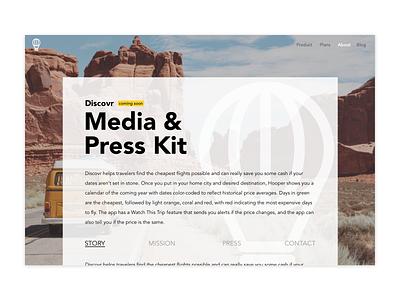Daily UI // Day 051 // Press Page dailyui web ux branding typography minimal ui design vector
