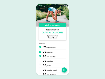 Daily UI // Day 062 // Workout of the Day dailyui app ux branding typography minimal ui design vector