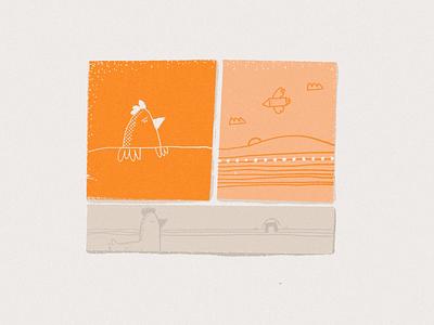 Mientras cruzo... sketch orange procreate illustration bird