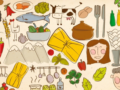 Chilean Food in Art napkins kitchen hen fish cow plates humita chile illustration food sketch