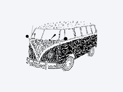 Typo illustration bn car font tipo volkswagen combi bodoni