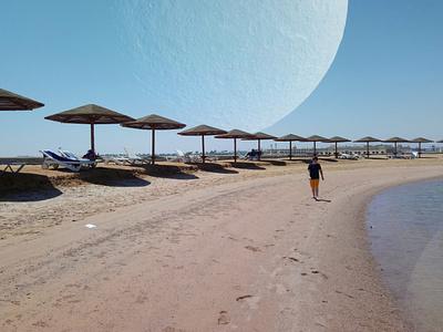 Planet Over Beach sand beach planet photomontage photoshop ethereal moon summer beach