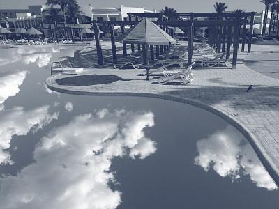 Dream Pool photoshop art monochrome pool