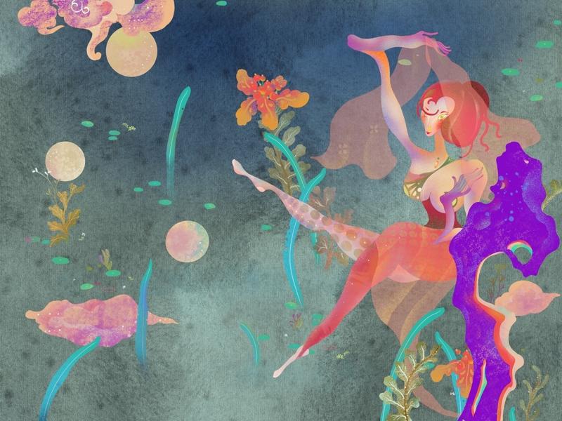 Hot Summer print pool flower fairytale fox ghost legend summer xiweiwei