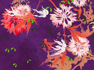 Birdsong illustrator illustration bird animal flower plant xiweiwei