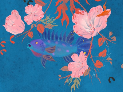 Spring River floral website animal flower plant fish illustration art illustrator illustration xiweiwei