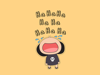 Laughing out loud sticker art cute vector illustration flat