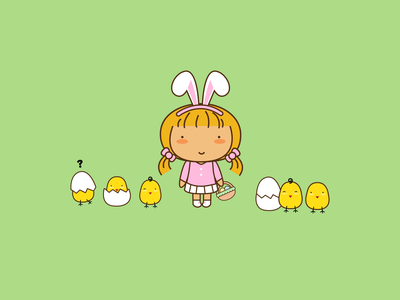 Happy Easter graphic art character creation cute vector illustration