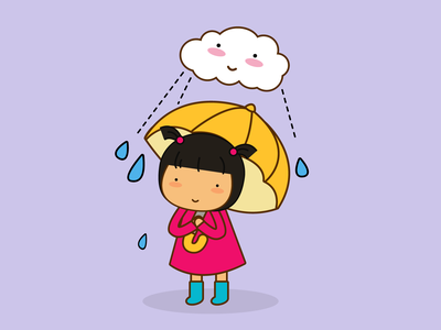 Rainy Day graphic art flat design vector cute illustration