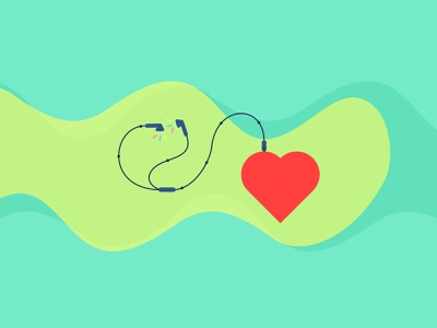 Listen to your Heart ❤ flat design wallpaper illustration muted listen heart earphones