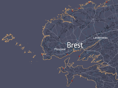 Brest style france brest flat geography gis mapping european europe map vector