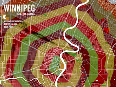 Winnipeg Isochrone Map gis qgis vector flat isochrone walk poster mapping canada map