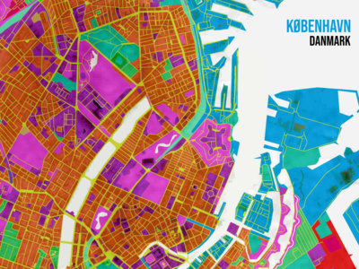 København Artistic Map copenhagen colorful posters urban planning geographic geography city color gis vector qgis poster map mapping illustration flat