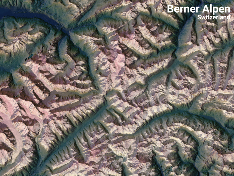 2-dimensional mountains. Part of the Bernese Alps flat dimension 3d switzerland mountains mountain raster design illustration geographic geography colorful color qgis poster mapping map gis