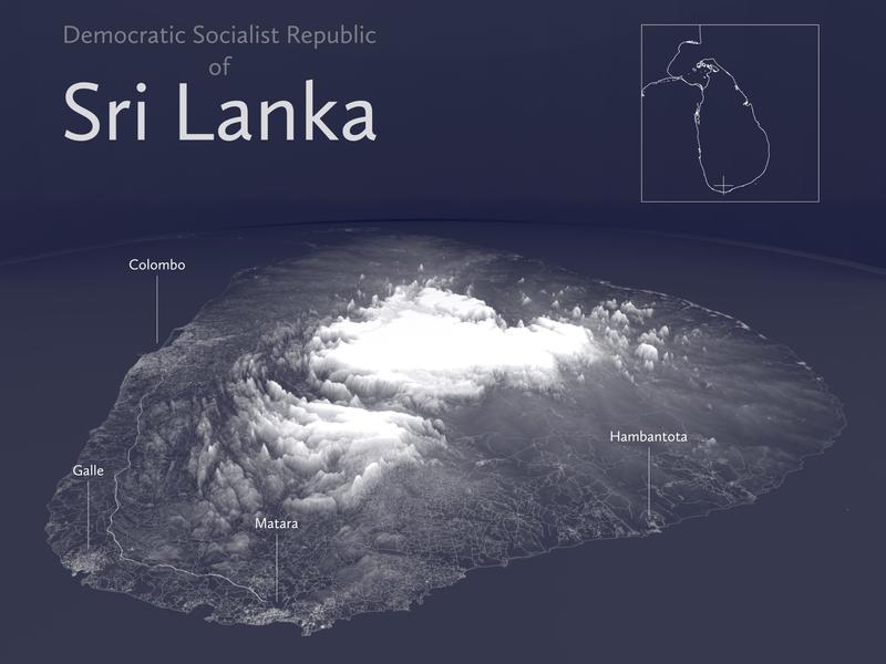 Sri Lanka 3D minimal openstreetmap inkscape blender3d blender srilanka monochrome 3d vector illustration geography geographic color qgis poster mapping map gis