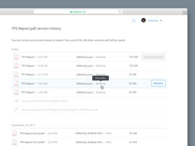 File Version History on Dropbox