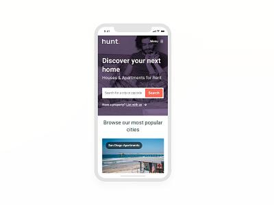 Hunt.com webmobile ui app