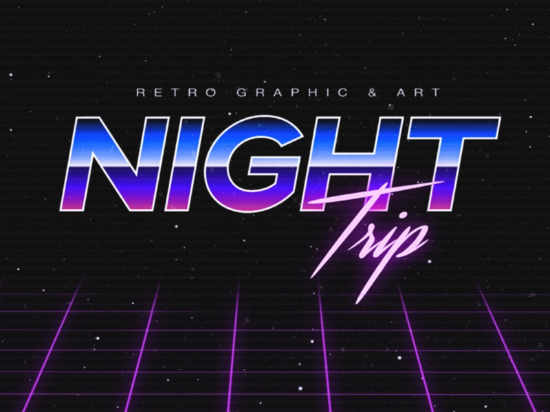 Night Trip Logo | Retro 80's Vaporwave photoshop illustrator 80s miami oldschool logotype design synthwave vaporwave 80s style retro logo
