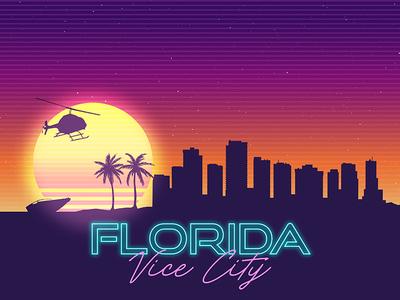Florida Vice City Skyline Synthwave Landscape