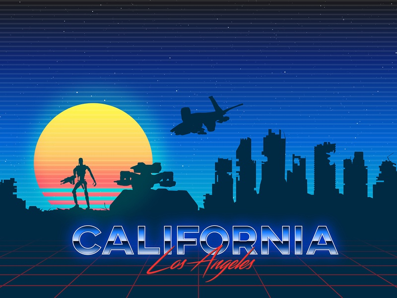 Synthwave Skyline Los Angeles 2029