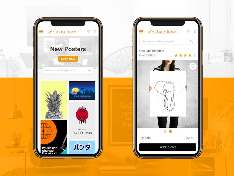 Mobile online shop for Art & Roam