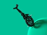 OneWheel Concept black green ball wheel unicycle bike blender render visualization 3d art 3d