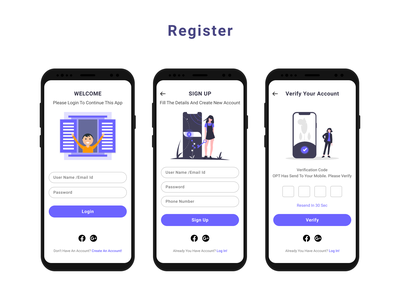 Login And Register Screen For Mobile illustration design login mobile ui mobile register design login design login screen