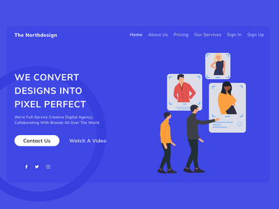 Agency landing page ux ui design website design illustration header design header agency landing page agency website landing design landingpage