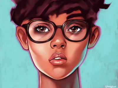 Digital art / Girl with glasses