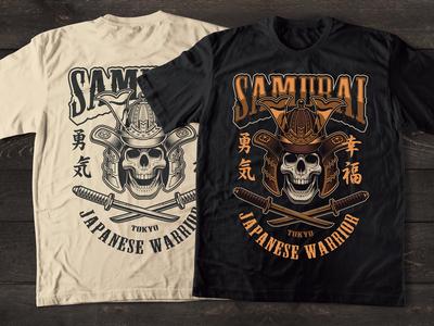 Design for t-shirt skull in a samurai helmet