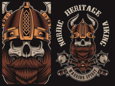 Design for t-shirt skull in a viking helmet