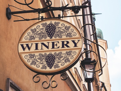 Vintage design elements for winery