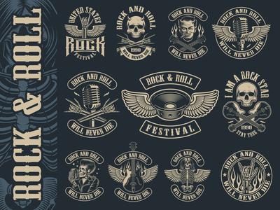 Big set of vintage rock and roll emblems